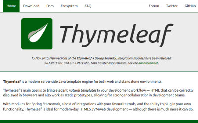 《045.Thymeleaf的两个实用扩展》 列出Thymeleaf基本资料,运行官方例子,分享2个实用扩展的思路,一个是MVC中C可选,一个是自带model的widget。